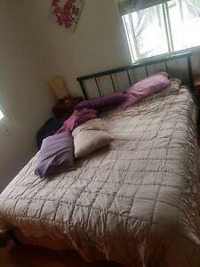 Queen bed & mattress side tables mattress topper