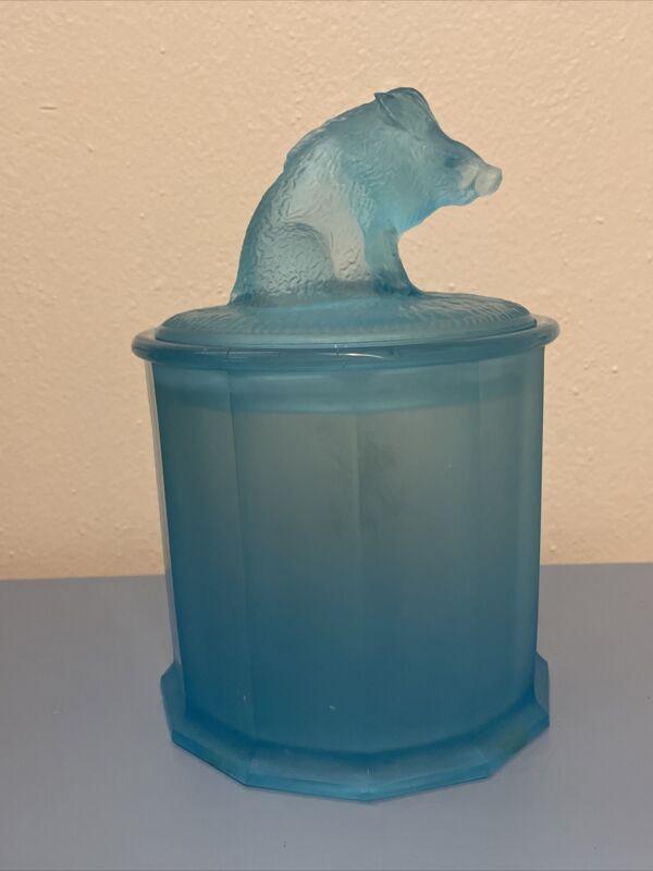 Exceptional BLUE BOAR HOG PIG TOBACCO JAR / CIGAR HUMIDOR FROSTED GLASS