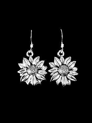 Daisy Sunflower Dangle Charm Earrings, Sterling Silver French Hook Ear Wire