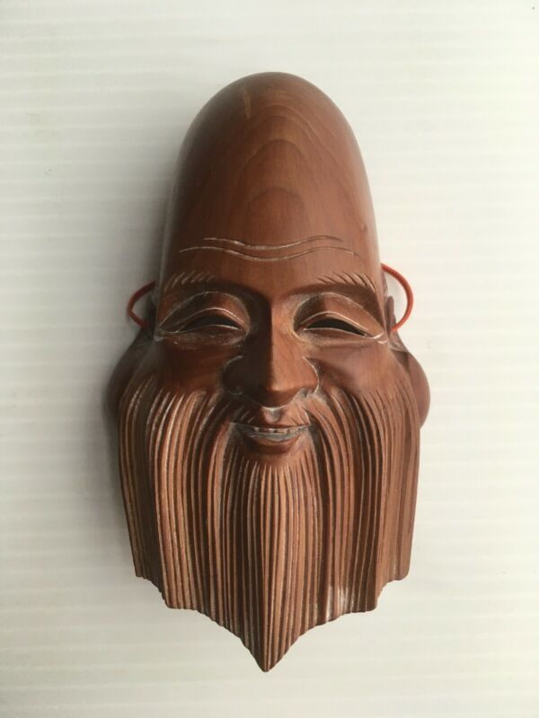 Japanese Signed Okina old man Hand-Carved Wooden mask Rare Japan