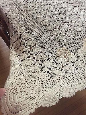 Vintage Handmade Cotton Crochet Lace Tablecloth 120