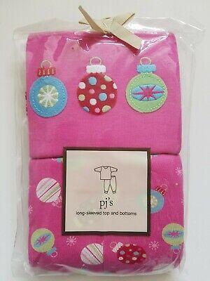 Baby Gap Girls Pajama Set Long Sleeved Top & Bottom Christmas Ornaments Size 4  Baby Girls Long Sleeved Pajamas