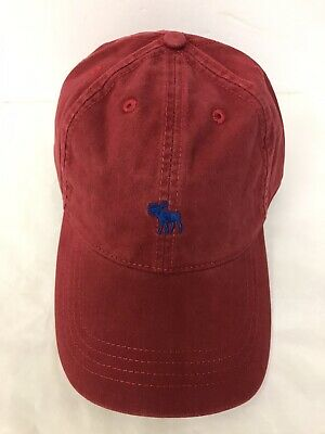 NEW MENS ABERCROMBIE & FITCH  ICON TWILL HAT/CAP RED  Adjustable Slider Buckle