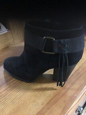 Kensie Ladies Massey Suede Ankle Boots Black Sz 10 ret