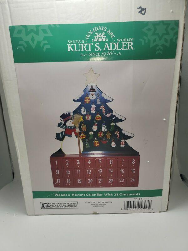 Kurt Adler Wooden Advent Calendar 24 Mini Wooden Ornaments Snowman & Tree w box