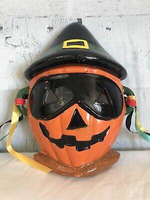 Vintage MCM LEGO Japan Ceramic Pumpkin Face Hanging Decor Halloween