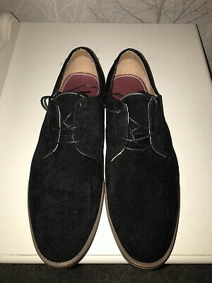 Burton Menswear London Black Suede Brougue Shoes UK Size 9
