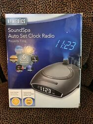 NIB HOMEDICS SOUNDSPA AUTO SET CLOCK RADIO w/ 6 Nature Sounds