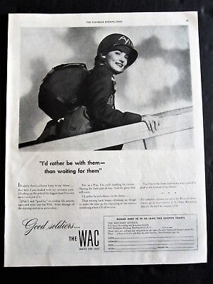 WAC Women's Army Corps Shipping to War Zone WWII Ad