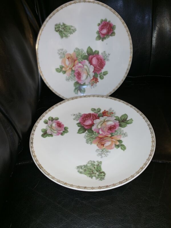 Pair Of Prov Saxe ES Germany 8 1/2 Plate - White, Pink, Yellow, and Red Roses