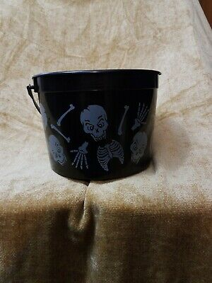 Vintage Halloween Black Skeleton Trick-or-Treat Candy Bucket