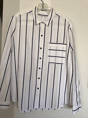 ATM ANTHONY THOMAS MELILLO white black railroad striped boyfriend button shirt M