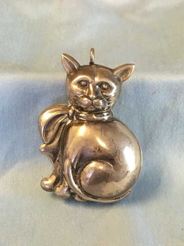 Vintage Sterling Silver Cat Christmas Ornament