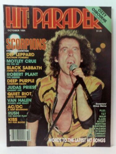 Hit Parader Magazine October 1984 Scorpions Motley Crue Rush Kiss Def Leppard