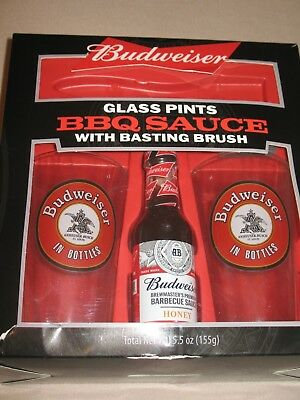Budweiser BBQ Gift Set Honey Sauce 2 Pint Glasses & Basting Brush  - BRAND -