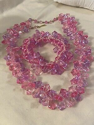 60s -70s Jewelry – Necklaces, Earrings, Rings, Bracelets Vintage 1960's Hong Kong Pink 'lucite' Necklace with Bracelet $39.99 AT vintagedancer.com