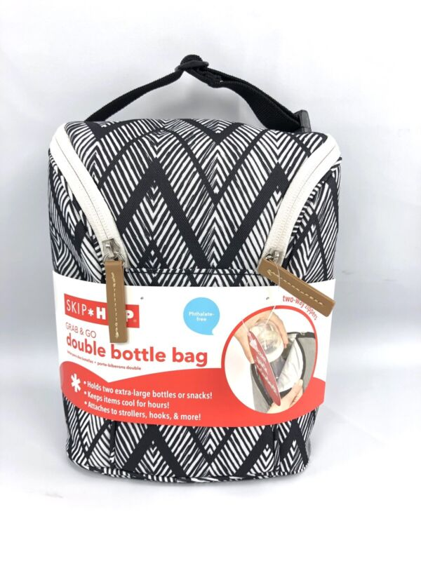 Skip Hop Baby Bottle Bag Black White Double Insulated with Freezer pack NEW
