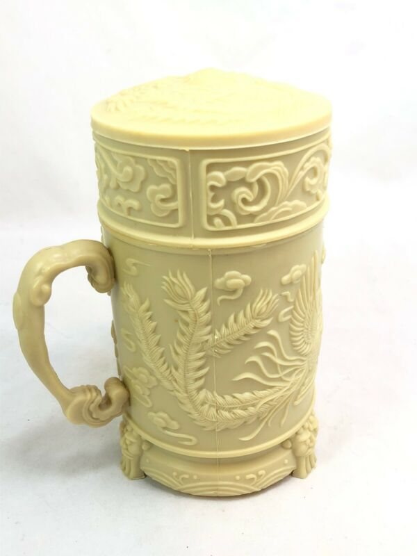 Vtg Chinese Clay Insert Water/ Tea Magnetic Therapy Lidded Insulated Cup/ Mug
