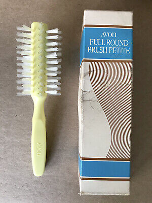 "Vintage Avon Full Round Brush Petite- Yellow w/ Clear Bristles 7"""