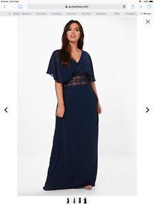 As new Women's size 22 Navy Lace Waist Button Maxi Dress
