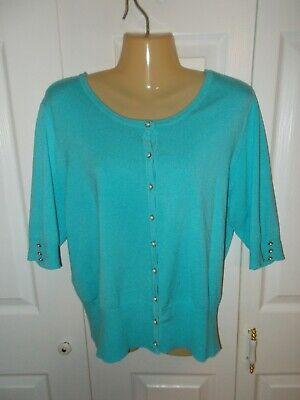 Audrey & Grace Women's Turquoise Blue Pearl Button Cardigan Sweater - Size XL