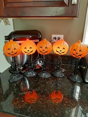 Vintage lighted blow mold halloween pumpkin candle stick lite's 5 in all