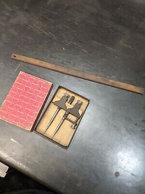 Starrett No. 50a Trammel Usa With Box And Wooden Straight Piece