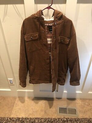 Hang Ten Brown Corduroy Jacket Sherpa Lined Hood Size Xl Sherpa Corduroy Jacket