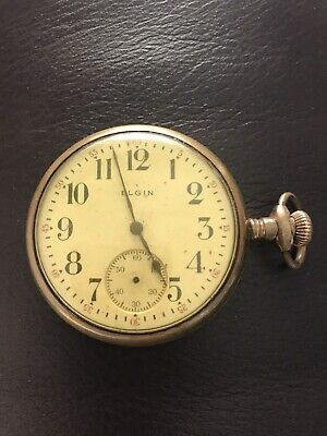 Antique Elgin pocket watch gold filled yellow gold open face case-not running