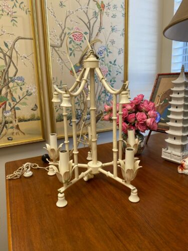 HOLLYWOOD REGENCY ITALIAN TOLE METAL FAUX BAMBOO PAGODA CHINOISERIE CHANDELIER