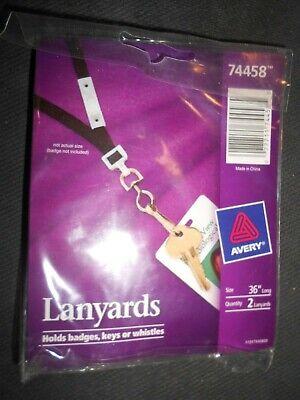 New AVERY 2 PK Neck Hanging Lanyards  for ID badge , Keys, Whistles break away
