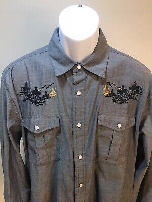 Howler Brothers Men's gray vented Gaucho western snap Range Riders shirt L bros.