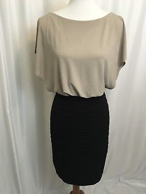 Womens Dress Sangria Pleated Blouson Flutter Sleeve Lined Beige Black Size 4 Pleated Flutter Sleeve Dress