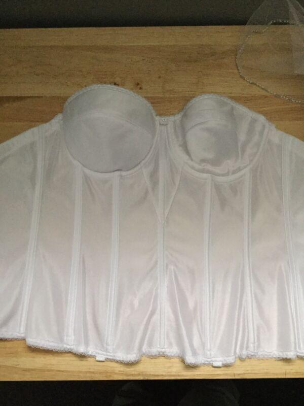 Bridal White Wedding Corset Dominique (sz 32-D) + White Veil (2 Pcs) Pwx1*p