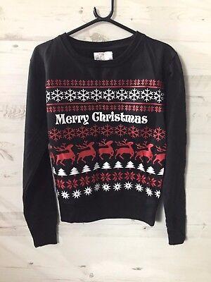 New Black Merry Christmas Xmas Party Reindeer Sweater Sweatshirt Jumper S Gift