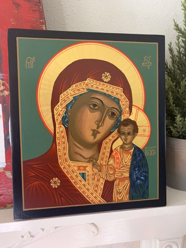 Hand Painted on Wood Orthodox Icon Joseph Francis of Jesus Mary Tilden WI Signed