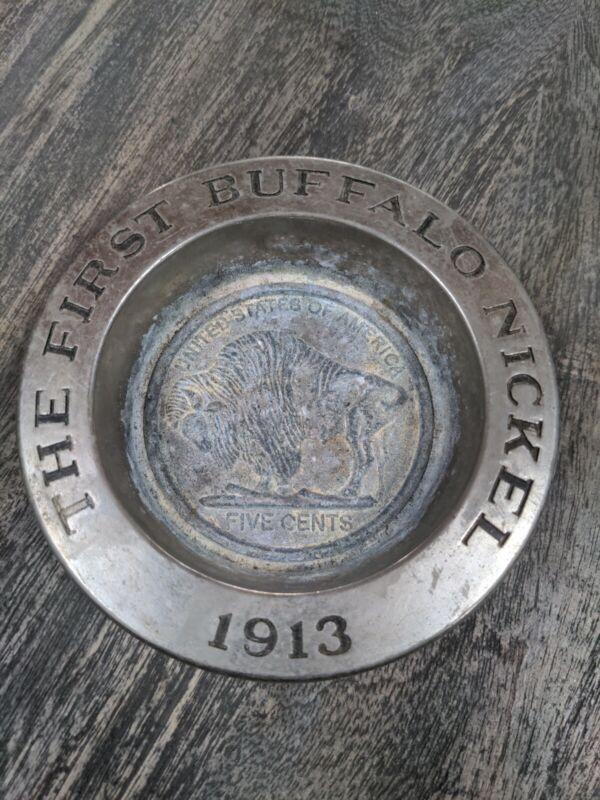 "Vintage Pewter Avon The First Buffalo Nickel 1913 Dish 5"""