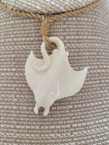 Buffalo Bone Stingray Pendant Hawaiian Hand Carved Necklace Adjustable Choker *