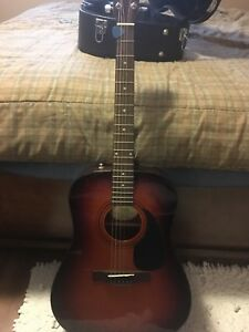 Fender acoustic guitar with case and tuner