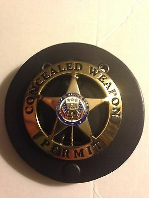 CONCEALED CARRY WEAPONS PERMIT GOLD BADGE W/ LEATHER HOLDER BELT CLIP CCW PISTOL