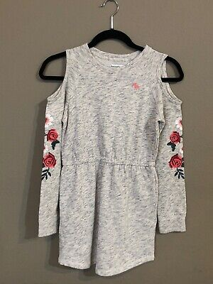 Nwt Abercrombie Kids Gray Knit Open Shoulder Dress Sz 9/10 Embroidered Floral