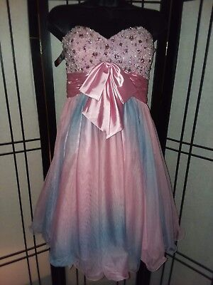 Princess Bodice - Princess Collection Pink Hand-beaded Bodice Strapless Organza Prom Dress size 4