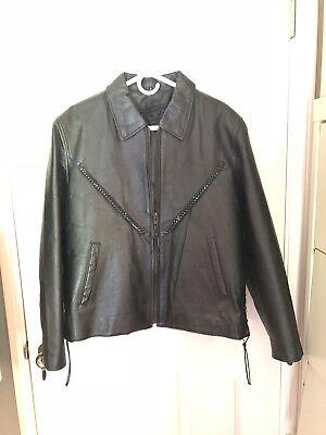 Ladies Black Leather Motorcycle Jacket Sz L by Bikers Dream Apparel pre owned