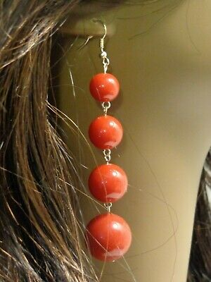 PEARL BALL DANGLE EARRINGS RED WHITE AND BLACK 3 INCH LONG PIERCED BALL EARRINGS Ball Dangle Earrings Jewelry