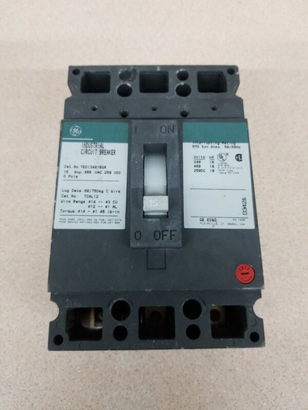 General Electric GE TED134015GR 3-Pole 15A Industrial Circuit Breakers