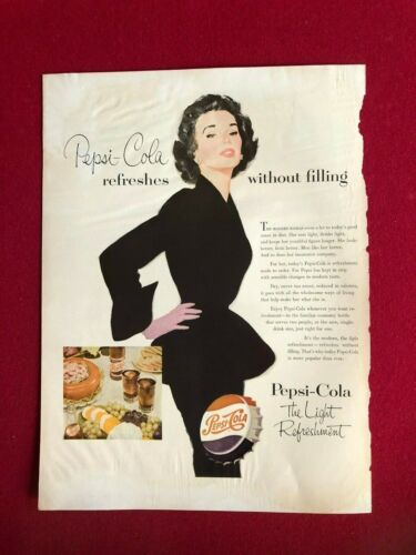 1953, PEPSI:COLA, Original Magazine Display Ad (Scarce / Vintage)