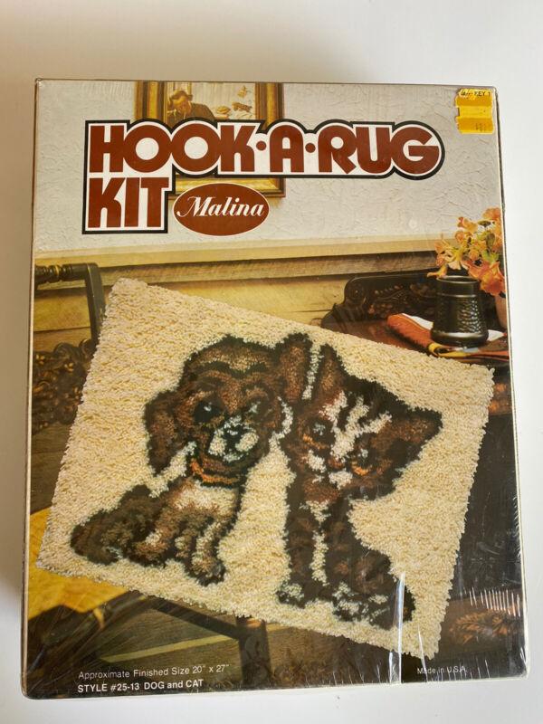 Vintage 1970s MALINA Hook-A-Rug Kit Dog And Cat Sealed And Unused NIB