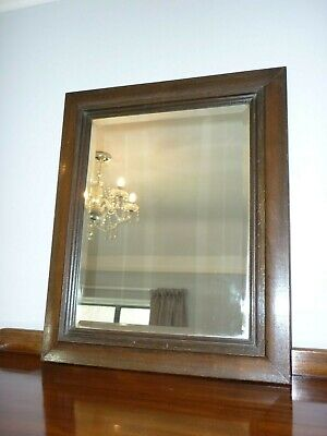 Vintage Rectangular Oak Framed Bevelled Edge Mirror