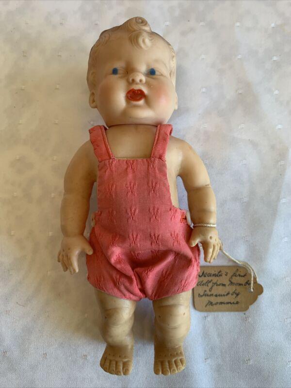 "Vintage German GURA H.D. Rubber BABY DOLL 6.5"" Blue Eyes Molded Hair"