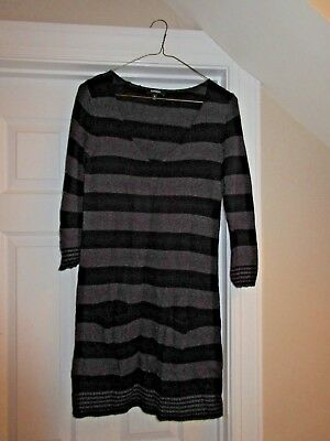 DRESS - Express - 3/4 Sleeve - Sweater - Black/Gray stripe - Sz Small
